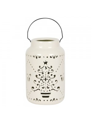 Ceramic Christmas Tree Lantern - Cream