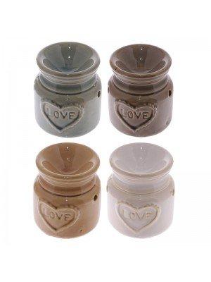 Ceramic Oil Burner With Love Design - Asst. Colours
