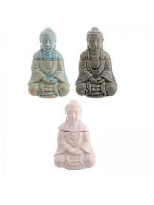 Ceramic Sitting Buddha Thai Oil Burner - Assorted Colours