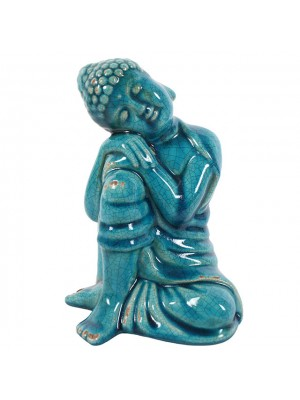 Ceramic Thai Buddha Leaning on Knee - Turquoise