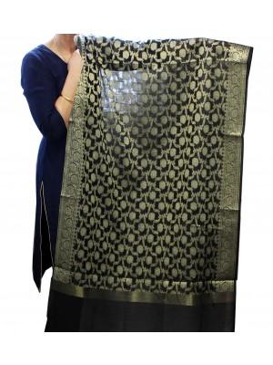 Wholesale Ladies Chanderi Silk Flower Design Soft Ethnic Dupatta - Black