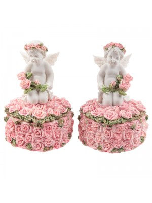 Rosebud Heart Trinket Box Cherub