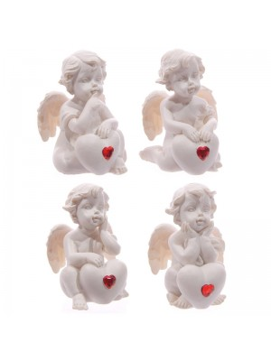 Wholesale White Cherub Sitting with Red Heart Gem