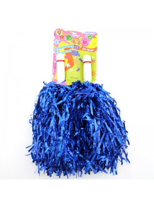 Cheering Squad Pom Poms with Handle - Blue