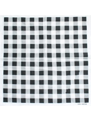 Chequered Bandanas - Black & White (White Border)