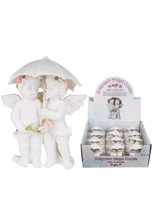 Cherubs Couple Figurine With Pink Coloured Rosary & Umbrella