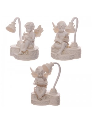 Cherubs Figurines Sitting Reading With LED Lamp