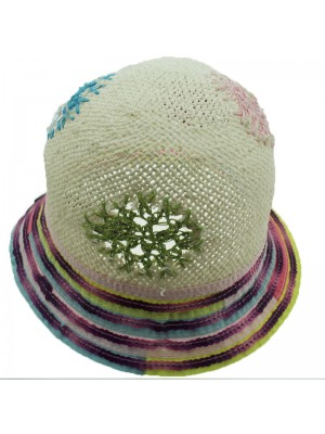 Children Colorful Straw Hat With Violet Sequin