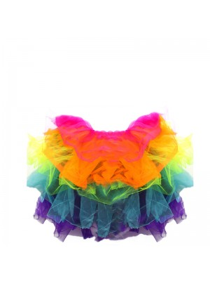 Childrens Tutu Skirt Neon Rainbow