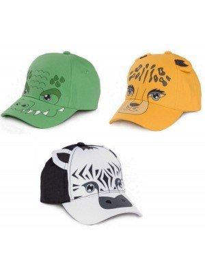 Children's Animal Printed Baseball Caps - Assorted (1-2yr)