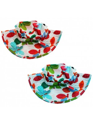 Wholesale Children's Girls Leaf Design Bucket Hats With Bow - Assorted Colours
