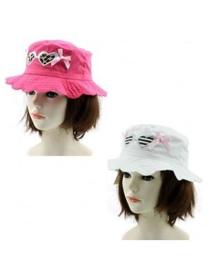 Children's Summer Bucket Hat (Hearts & Bow Design) – Asst. Colours & Sizes