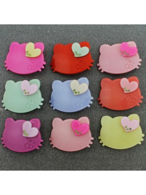 Children's Cat Ears Shaped With Heart Design Hair Clips - Assorted