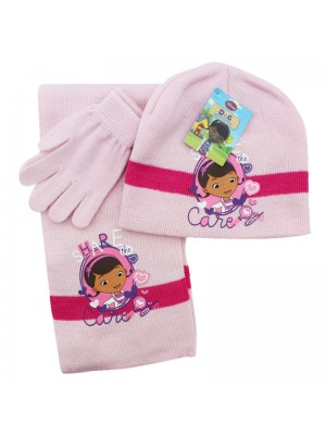 Children's Disney Dr McStuffins Scarves Gloves and Hat Set - Pink