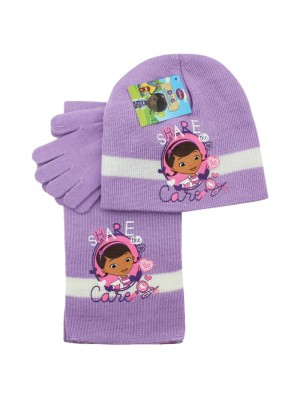 Children's Disney Dr McStuffins Scarves Gloves and Hat Set - Purple