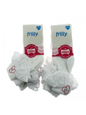 Children's Frilly Cotton Socks With Lace (3-5.5) - White