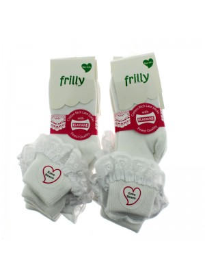 Children's Frilly Cotton Socks With Lace (6-8.5) - White