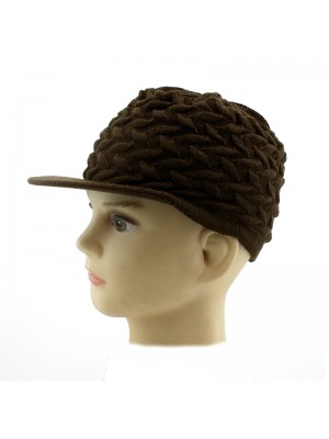 Children's Knitted Peak Hat - Brown
