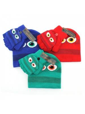 Children's Novelty Hat & Gloves Set (Fingerless) - Assorted Colours