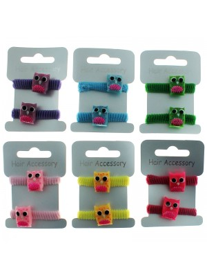Children's Owl Shaped Hair Elastics - Assorted