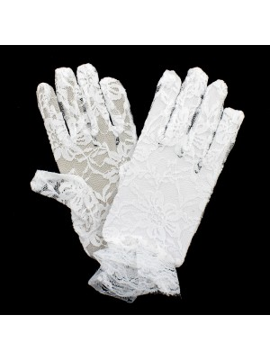 Children's Short Lace Gloves With Frilled Edge - White