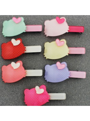 Children's Small Cat Ears Shaped With Dotted Design Hair Clips - Assorted