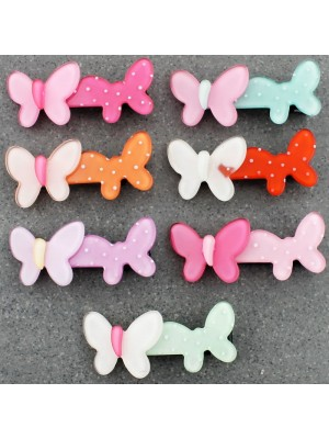Children's Two shaped Butterfly Design Hair Clips - Assorted