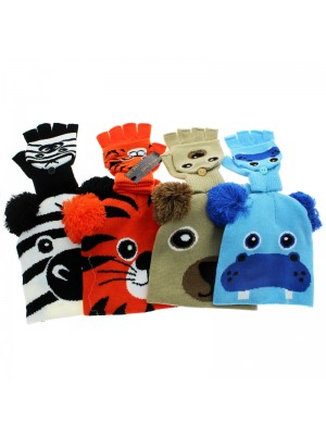 Childrens Animal Design Gloves and Hat Set - Assorted Design