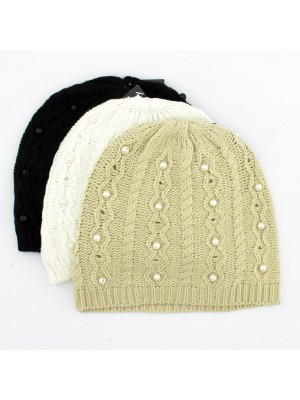 Ladies Beanie Hat with Pearl Details - Assorted Colours