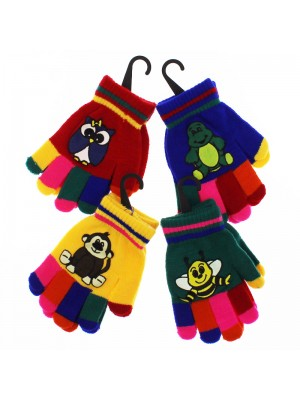 Childrens Coloured Magic Gripper Gloves  - Animal Assortment