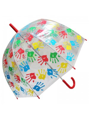 Wholesale Childrens Multicoloured Hand-Print Clear Dome Umbrella - Assorted Colours