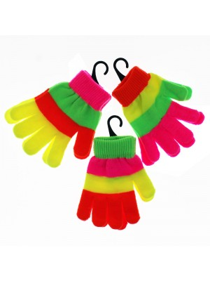 Children's Striped Neon Magic Gloves - Assorted Colours