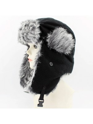 Adults Fleece Trapper Hat With Fur - Black