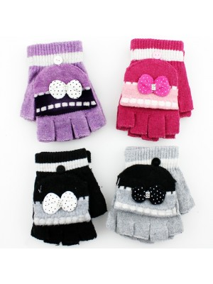 Childrens Bow Design Capped Gloves - Assorted Colours