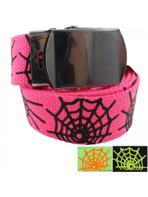 Childrens Canvas Belts with Spider Web Print - Assorted Neon Colours