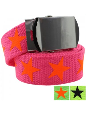 Childrens Canvas Belts with Stars Print - Assorted Neon Colours