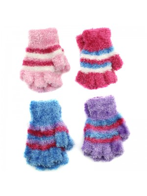 Ladies Fingerless Feather Touch Gloves - Assorted Colours