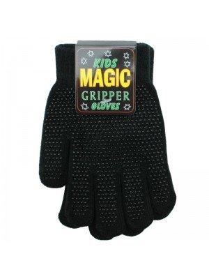 Childrens Plain Magic Gripper Gloves - Black