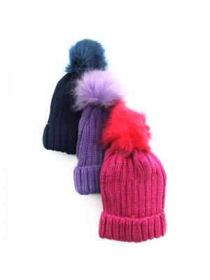 Childrens Removable Pom-Pom Fashion Hat - Assorted Colours