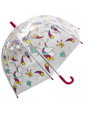 Childrens Unicorn and Rainbow design Dome umbrella - Clear