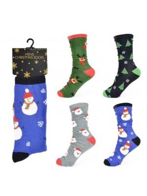 Wholesale Men's Cotton Rich Assorted Christmas Design Socks (UK 7-11)