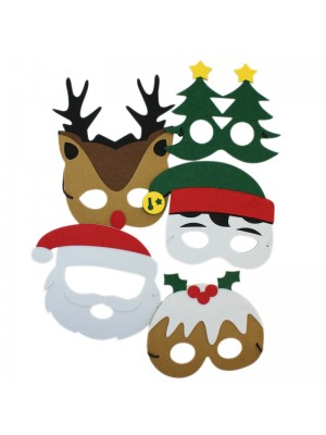 Christmas Design Felt Face Masks - Assorted Designs