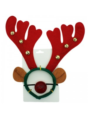 Christmas Reindeer Design Headband with Jingles & Nose Set - 33cm