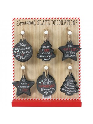 Christmas Slate Decorations with Display