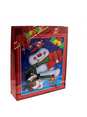 Christmas Snowman Design Gift Bag - 22 x 18 x 7cm