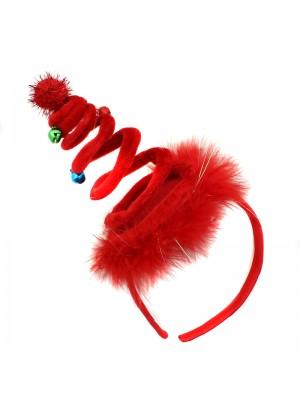 Christmas Tree Design Headband with Jingle Bells - Red
