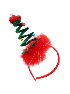 Christmas Tree Design Headband with Jingle Bells - Red & Green