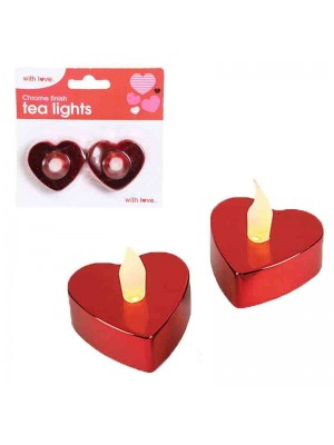 Wholesale Chrome Finish Heart Shaped Tea Lights