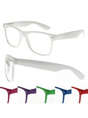 Clear Lens Wayfarer Nerd Glasses - Assorted Colours