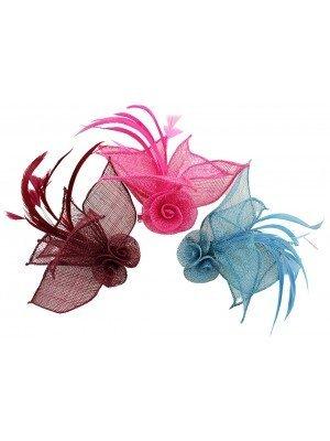 Wholesale Fascinator On Clip Flower Design - Assorted Colours